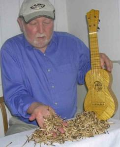 An interesting man who made a ukulele out of matchsticks